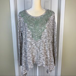 Entro Brown White Sweater Tunic Lace Accent Sz M